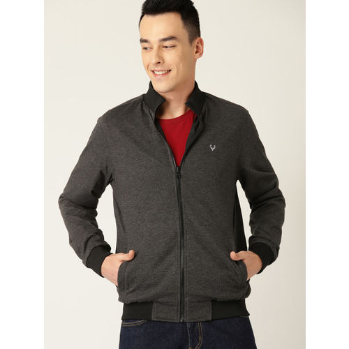 Allen Solly Men Black & Charcoal Grey Solid Reversible Bomber Jacket