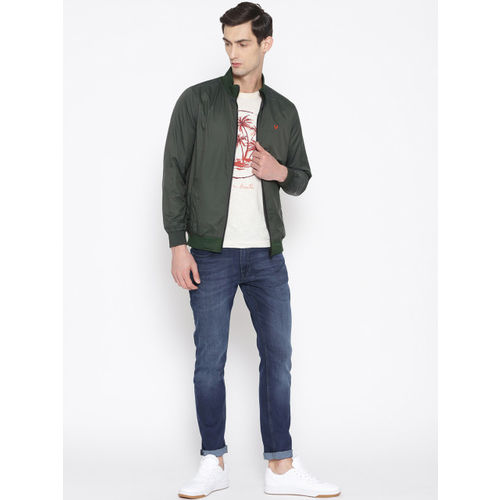 Allen Solly Men Olive Green & Charcoal Grey Solid Reversible Bomber Jacket