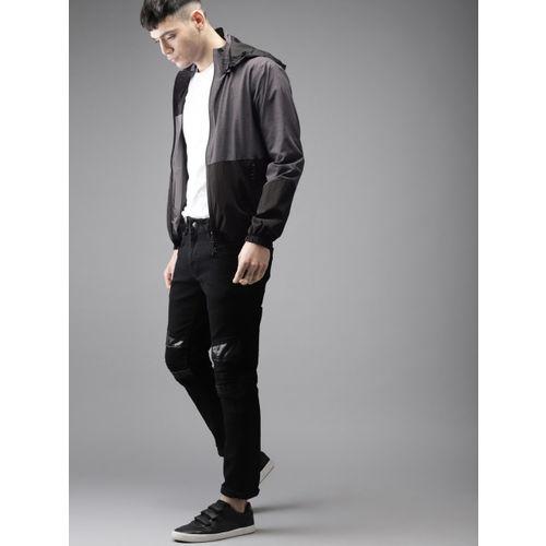 Moda Rapido Men Grey & Black Colourblocked Reversible Tailored Jacket with Detachable Hood