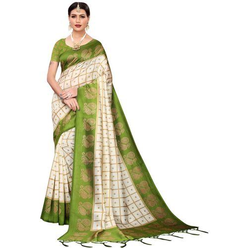 Yashika Printed Fashion Art Silk Saree(Light Green)