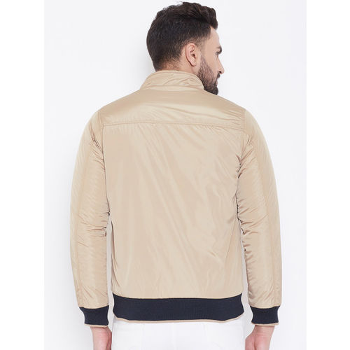 Okane Men Beige & Black Reversible Bomber Jacket