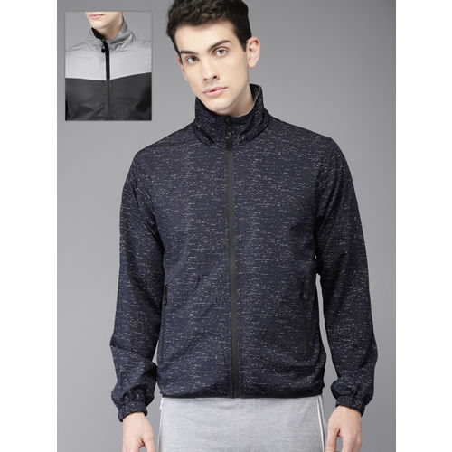 HERE&NOW Men Navy Blue Reversible Tailored Jacket