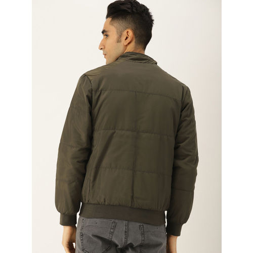 Allen Solly Men Olive Green Solid Reversible Jacket