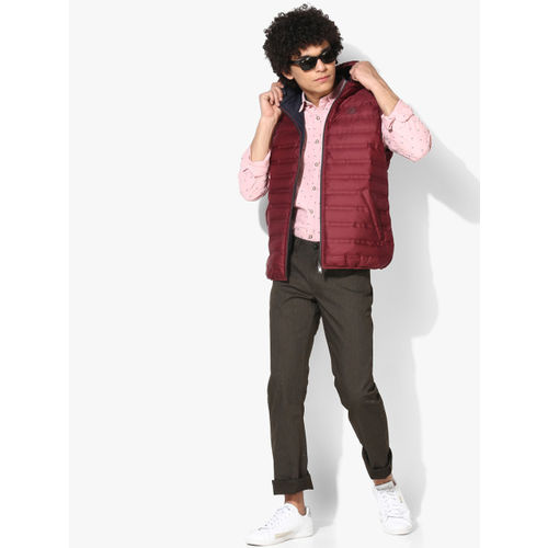GAS Maroon Solid Padded Reversible Jacket