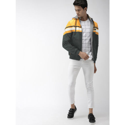 The Indian Garage Co Men Olive Green & Yellow Colourblock Hooded Reversible Bomber Jacket