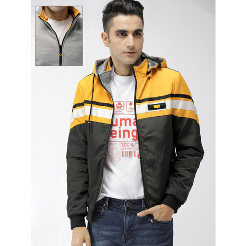 The Indian Garage Co Men Black & Yellow Colourblocked Reversible Bomber Jacket