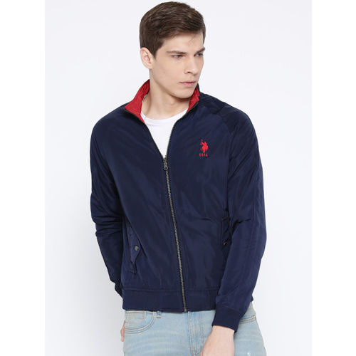 U.S. Polo Assn. Men Navy Blue & Rust Red Reversible Solid Bomber Jacket
