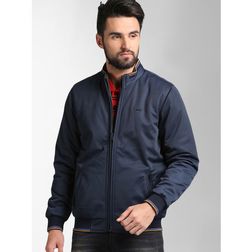 Peter England Casuals Men Navy Blue & Grey Solid Reversible Puffer Jacket