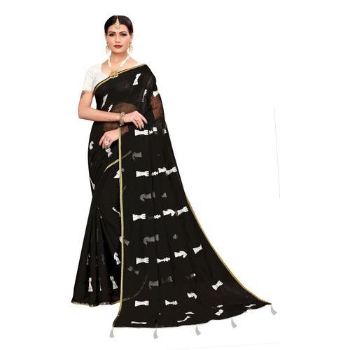 Yashika Embroidered Fashion Cotton Blend Saree(Black)
