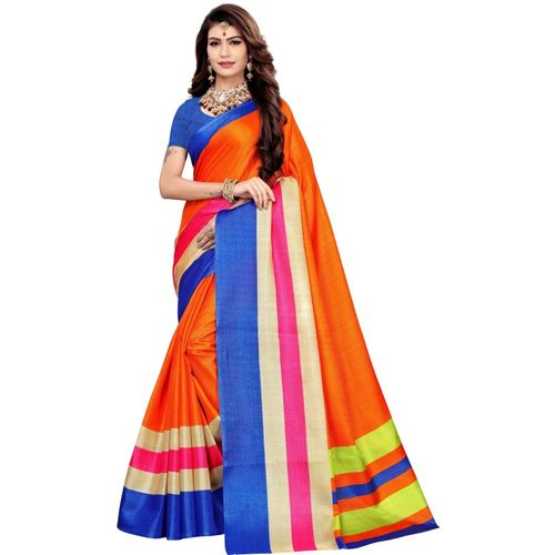 Yashika Printed Fashion Khadi Silk Saree(Multicolor)