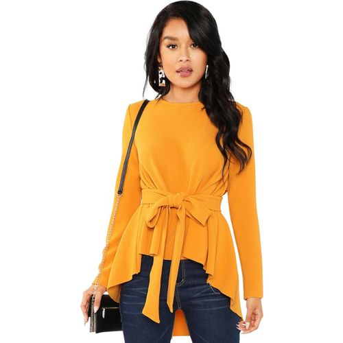 ILLI LONDON Yellow Polyester Full Sleeve High- Low Casual Top