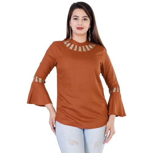 Fab Star Casual Bell Sleeve Laser Cut Brown Top