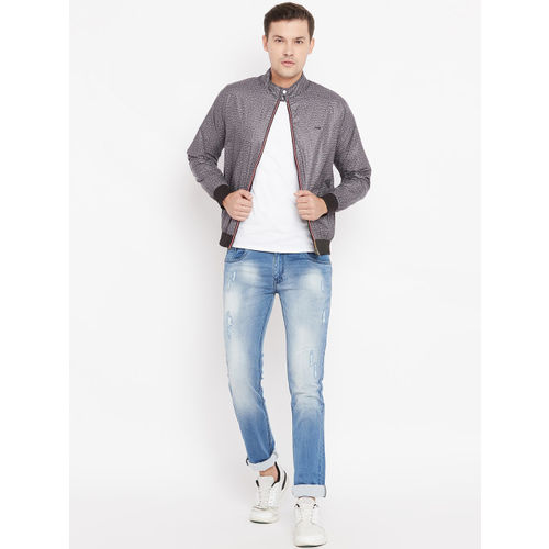 Peter England Casuals Peter England Men Grey Solid Reversible Bomber Jacket
