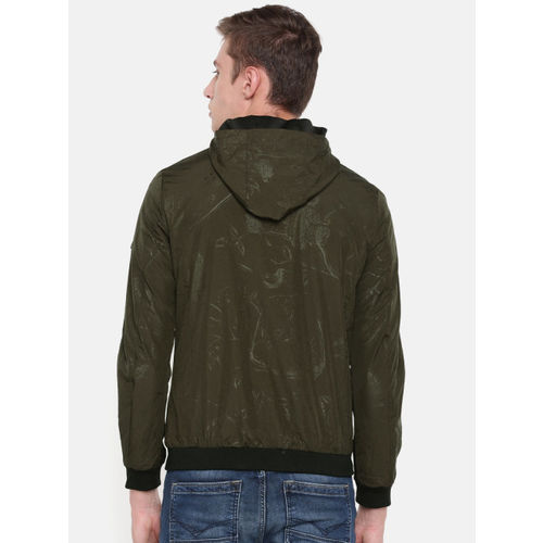Killer Men Olive Green & Black Printed Reversible Bomber Jacket