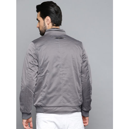 Louis Philippe Men Grey Solid Reversible Bomber Jacket