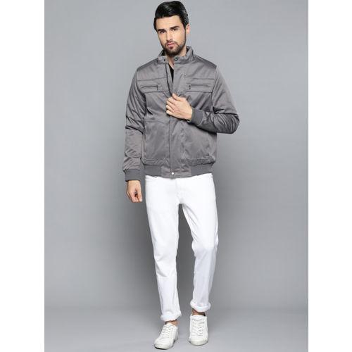 Louis Philippe Men Grey Solid Reversible Bomber Jacket