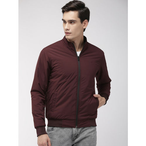 Park Avenue Men Black & Maroon Slim Fit Solid Reversible Bomber Jacket