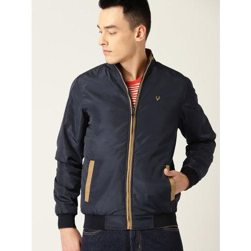 Allen Solly Men Khaki & Navy Blue Solid Reversible Jacket