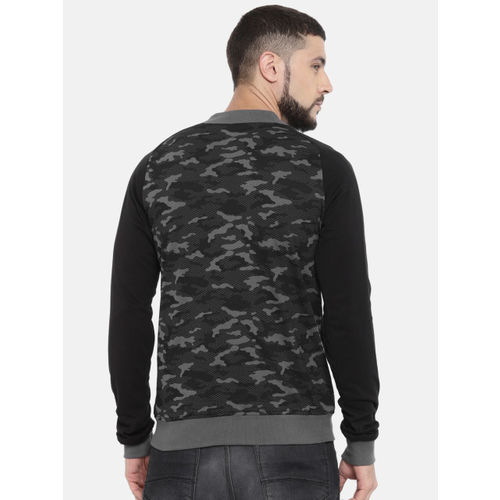 Puma Men Black & Grey Camouflage Printed Regular Fit Reversible Bomber