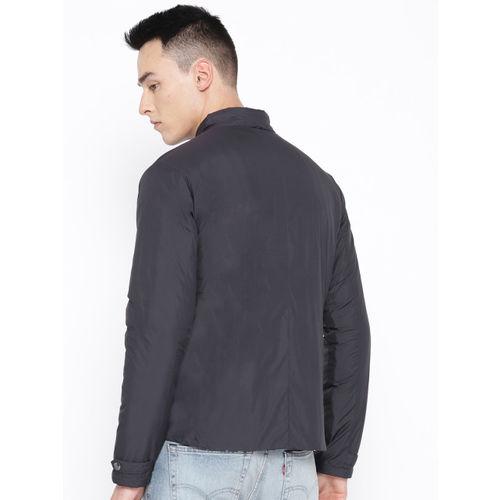 Blackberrys Men Charcoal Grey & Navy Padded Reversible Jacket
