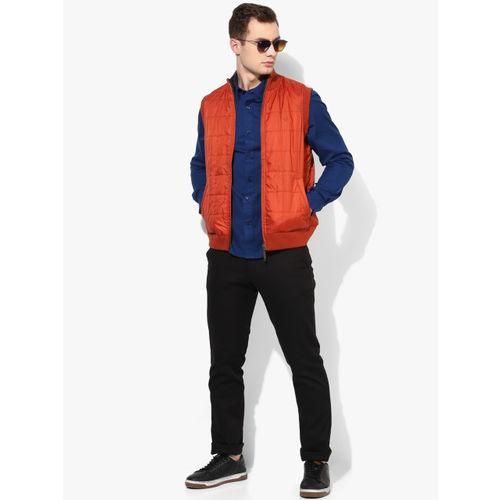 Allen Solly Orange Solid Reversible Quilted Jacket