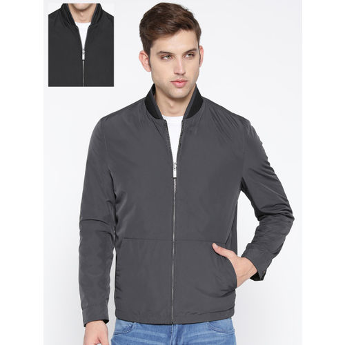 Blackberrys Men Black & Charcoal Grey Solid Reversible Tailored Jacket