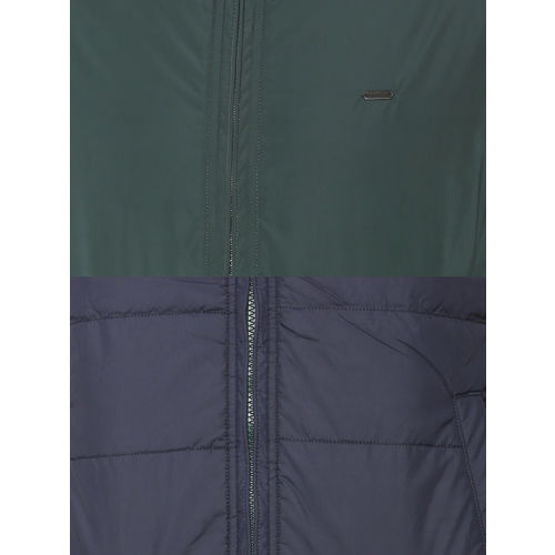 Peter England Casuals Men Green Solid Reversible Bomber