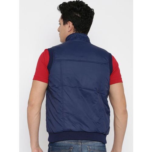 Peter England Casuals Blue & Charcoal Grey Reversible Padded Sleeveless Jacket