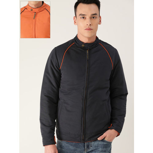 Allen Solly Men Navy Blue & Orange Solid Reversible Padded Jacket
