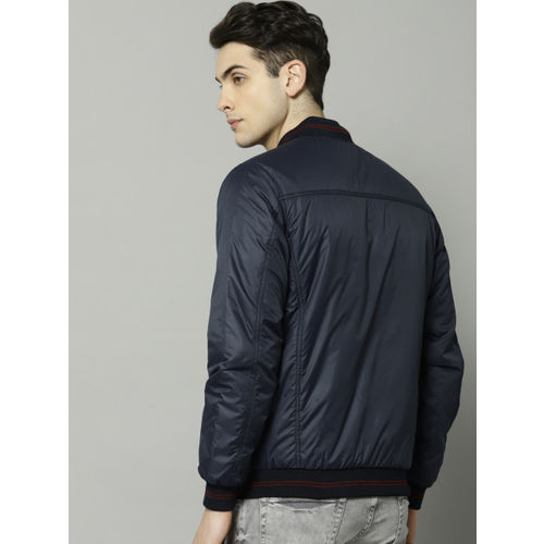 French Connection Men Navy Blue Solid Reversible Bomber Jacket