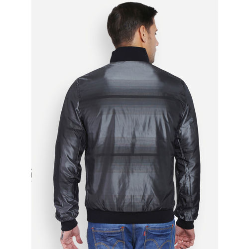 Peter England Casuals Black & Charcoal Grey Reversible Jacket