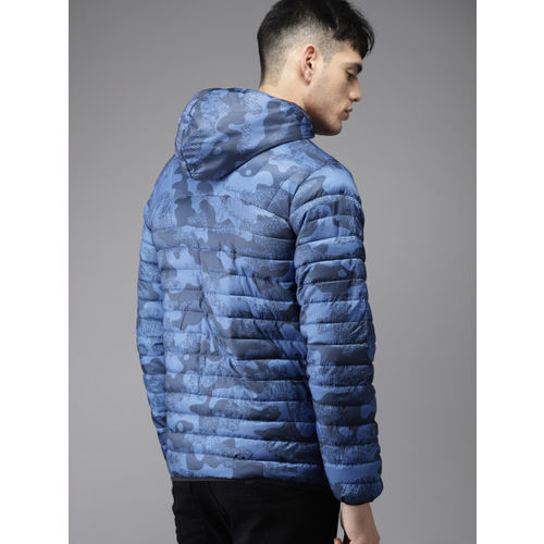 Moda Rapido Men Blue Printed Detachable Hood Reversible Puffer Jacket