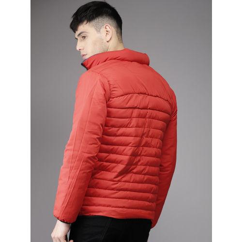 Moda Rapido Men Blue Printed Detachable Hood Reversible Puffer Jacket