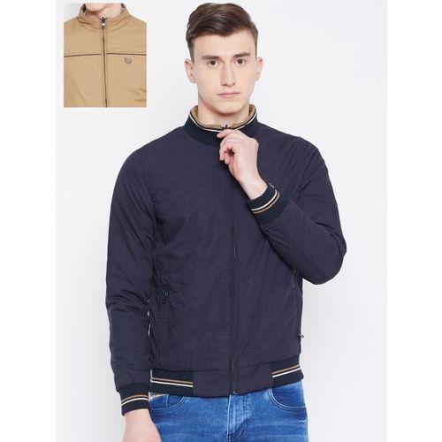 Duke Stardust Men Navy Blue & Beige Solid Reversible Varsity Jacket