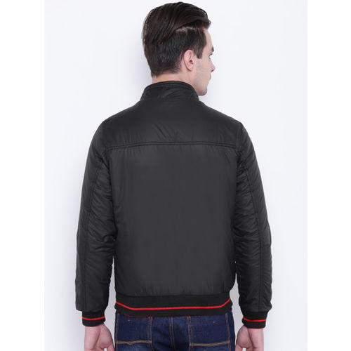 Fort Collins Men Black & Red Solid Reversible Bomber Jacket