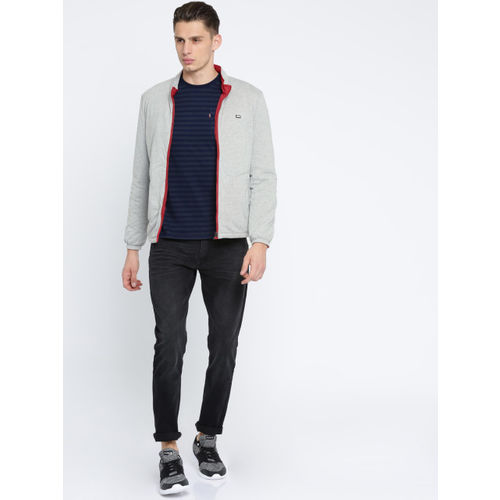 Arrow Sport Men Grey Melange & Red Solid Reversible Jacket
