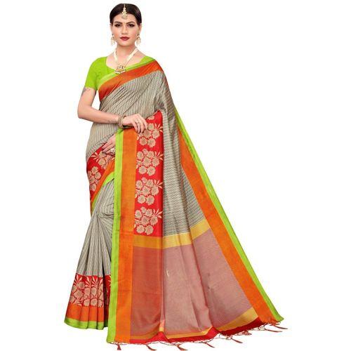 Yashika Printed Fashion Art Silk Saree(Orange)