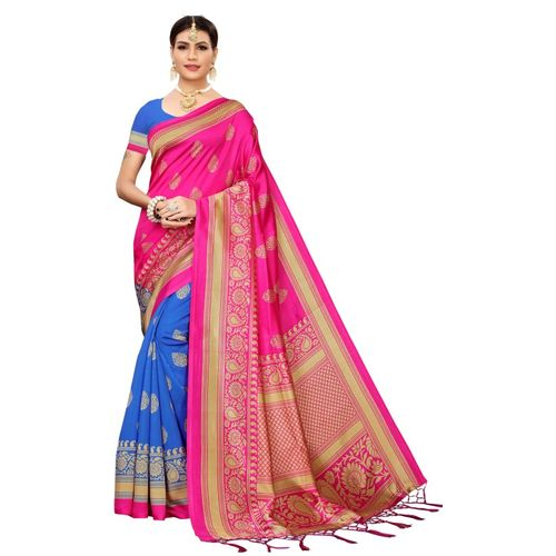 Yashika Printed Fashion Art Silk Saree(Pink)