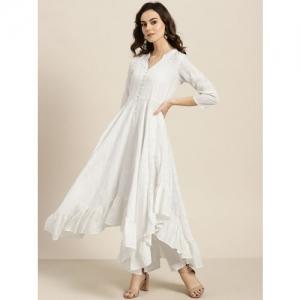 Sangria Women White & Silver Striped Anarkali Kurta