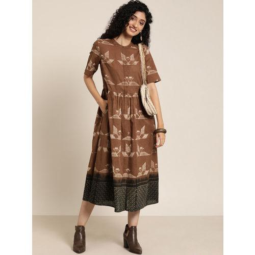 Taavi Women Rust Brown & White Shibori Hand Technique A-Line Dress with Pockets