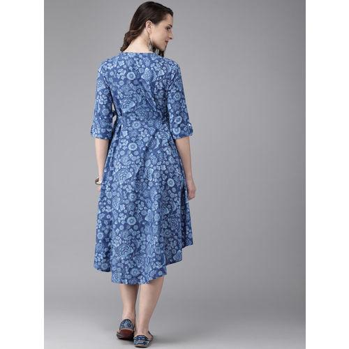 Anouk Women Blue Printed Fusion A-Line Kurta