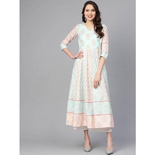 Indo Era Women Pink & Blue Printed A-Line Kurta