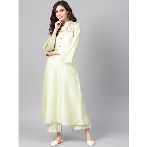 Indo Era Women Green Embroidered A-Line Kurta