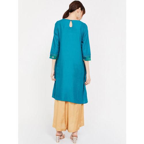 Melange by Lifestyle Women Teal Blue Printed Straight Kurta
