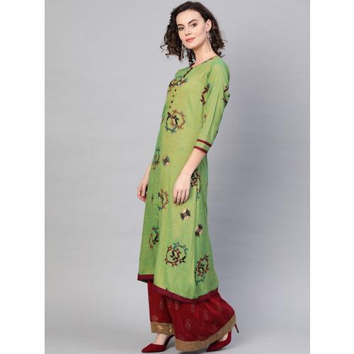 La Firangi Women Green & Maroon Printed A-Line Kurta
