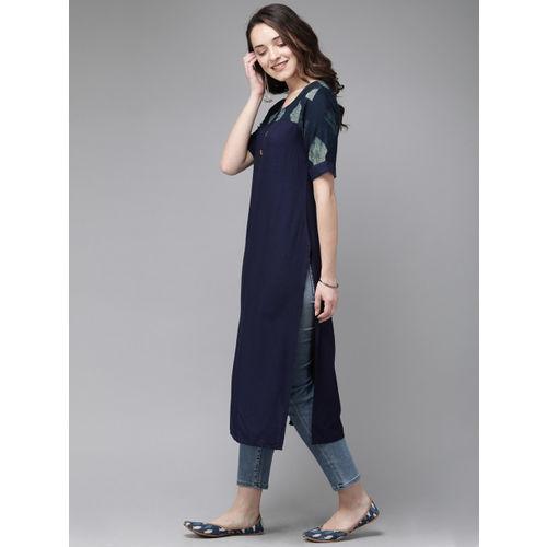 Anouk Women Navy Blue Solid Straight Kurta