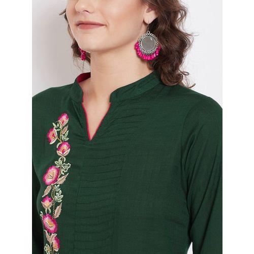 Kurti's by Menka Women Green Embroidered Detail Straight Kurta