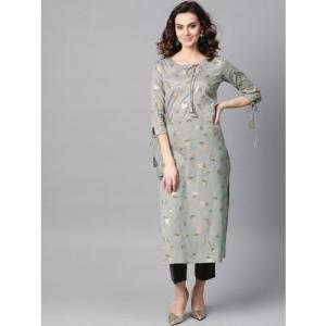 La Firangi Women Grey & Golden Printed Straight Kurta