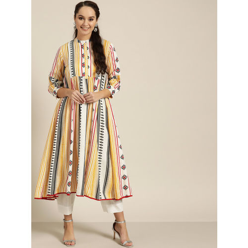 Sangria Women White & Yellow Printed Anarkali Kurta