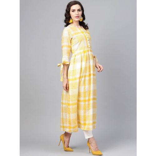 Indo Era Women Yellow & White Checked A-Line Kurta
